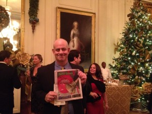 Jeff Kramer with portrait of Martha Washington.