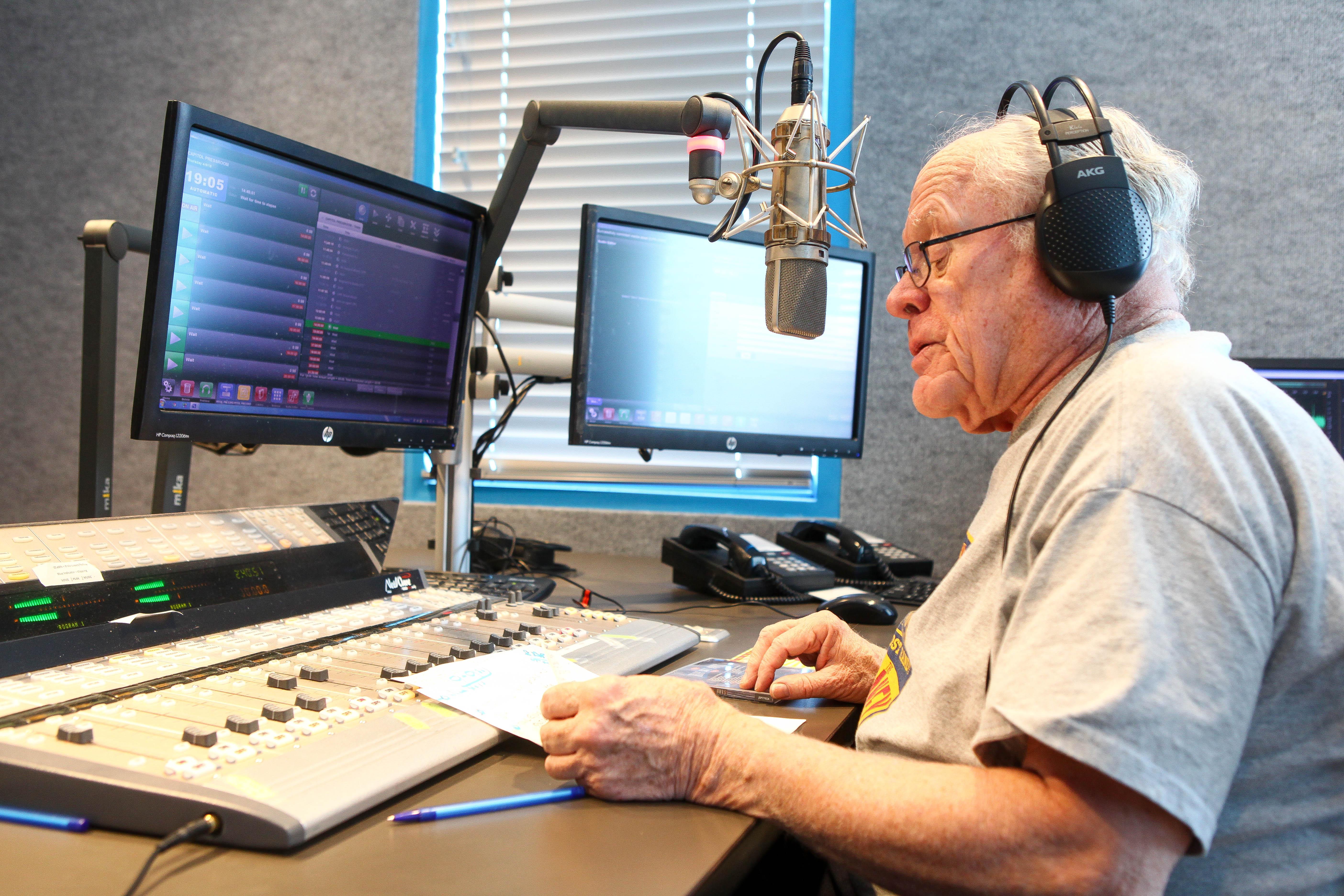 Bill Knowlton in the radio studio.