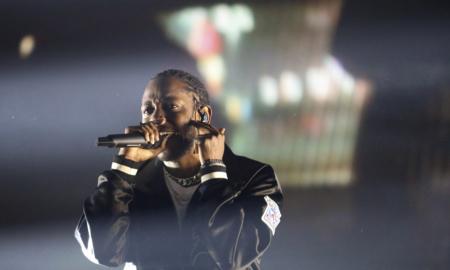 Kendrick Lamar performs at the Gila River Arena in Phoenix, Ariz.